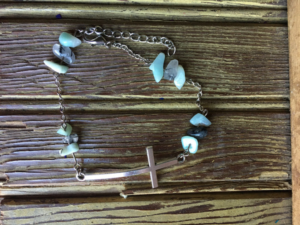 Amazonite And Tourmalinated Quartz Anklet and Bracelet Set