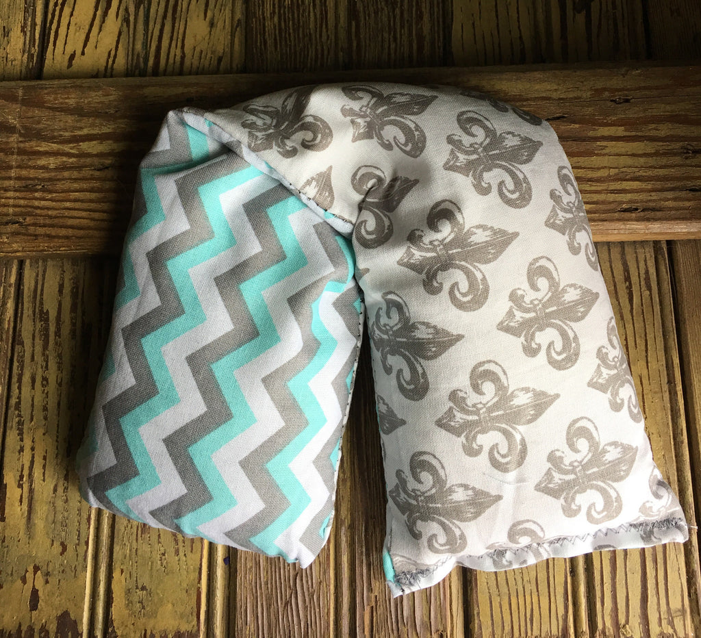 Large Blue Chevron W/ Grey Damask Rice Bag - Gifting a Gift of Peace