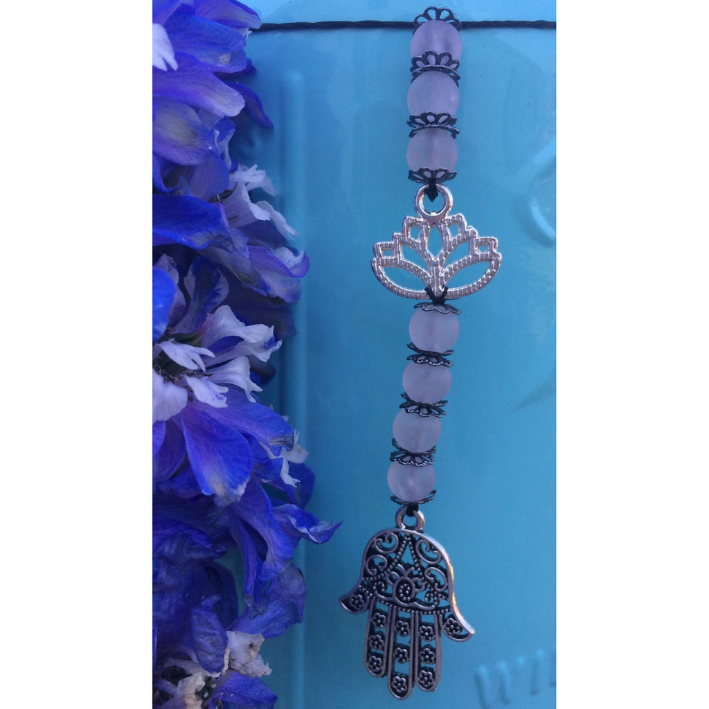 Rose quartz lotus/hamsa door hanger - Gifting a Gift of Peace