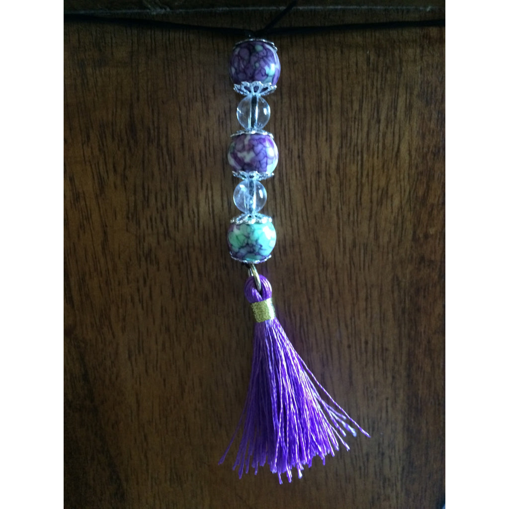 sugilite and clear quartz car/door hanger - Gifting a Gift of Peace