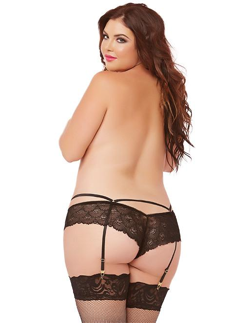 Seven 'til Midnight Lace Garter Panty- Plus- Black- Back