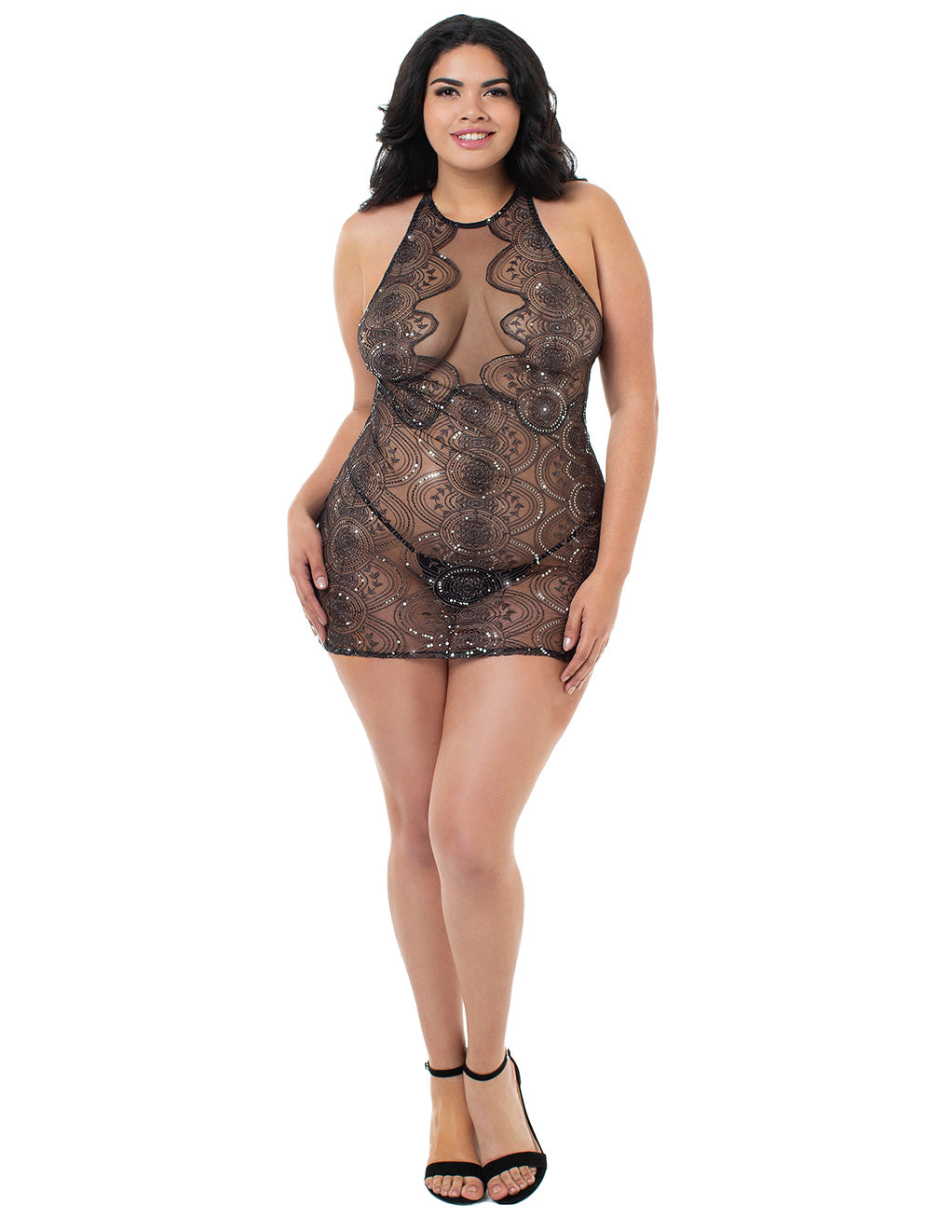 Dreamgirl Silver Medallion Halter Chemise Front Plus Size