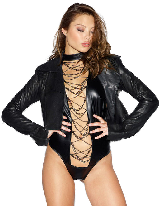 Dream Girl Faux Leather Halter Teddy With Chain Detail jacket