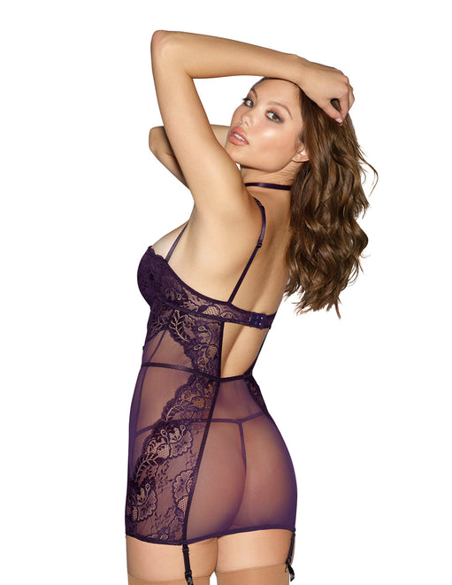Dreamgirl Lace & Mesh Chemise with Collar - Lingerie - Chemise