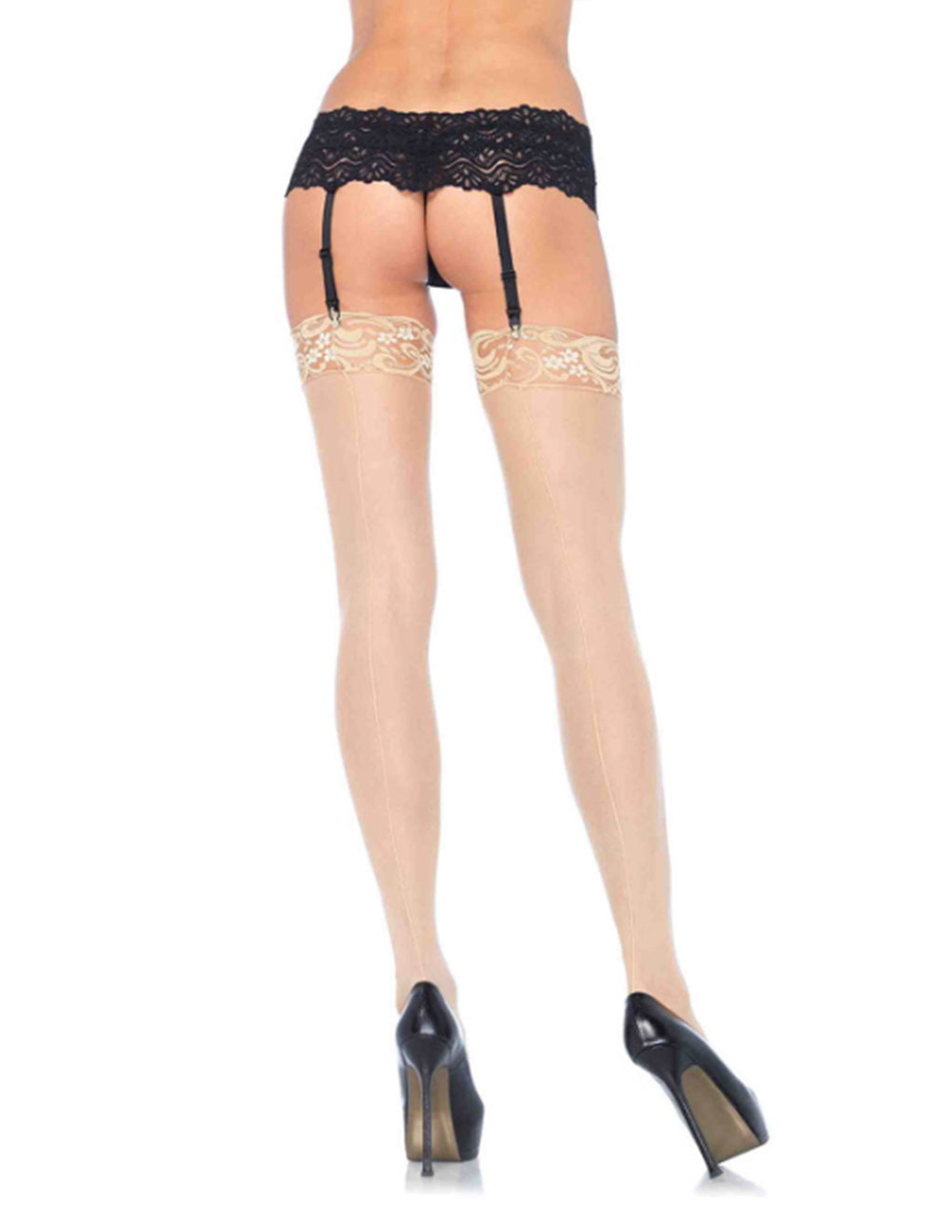Leg Avenue Sheer Back Seam Lace Top Thigh High Stockings- Nude