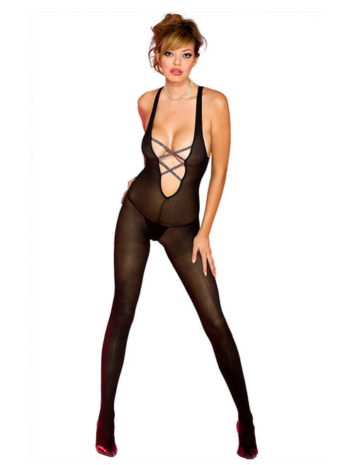 Hustler Lingerie Opaque Criss Cross Front Bodystocking - Lingerie - Bodystockings - Featured Image