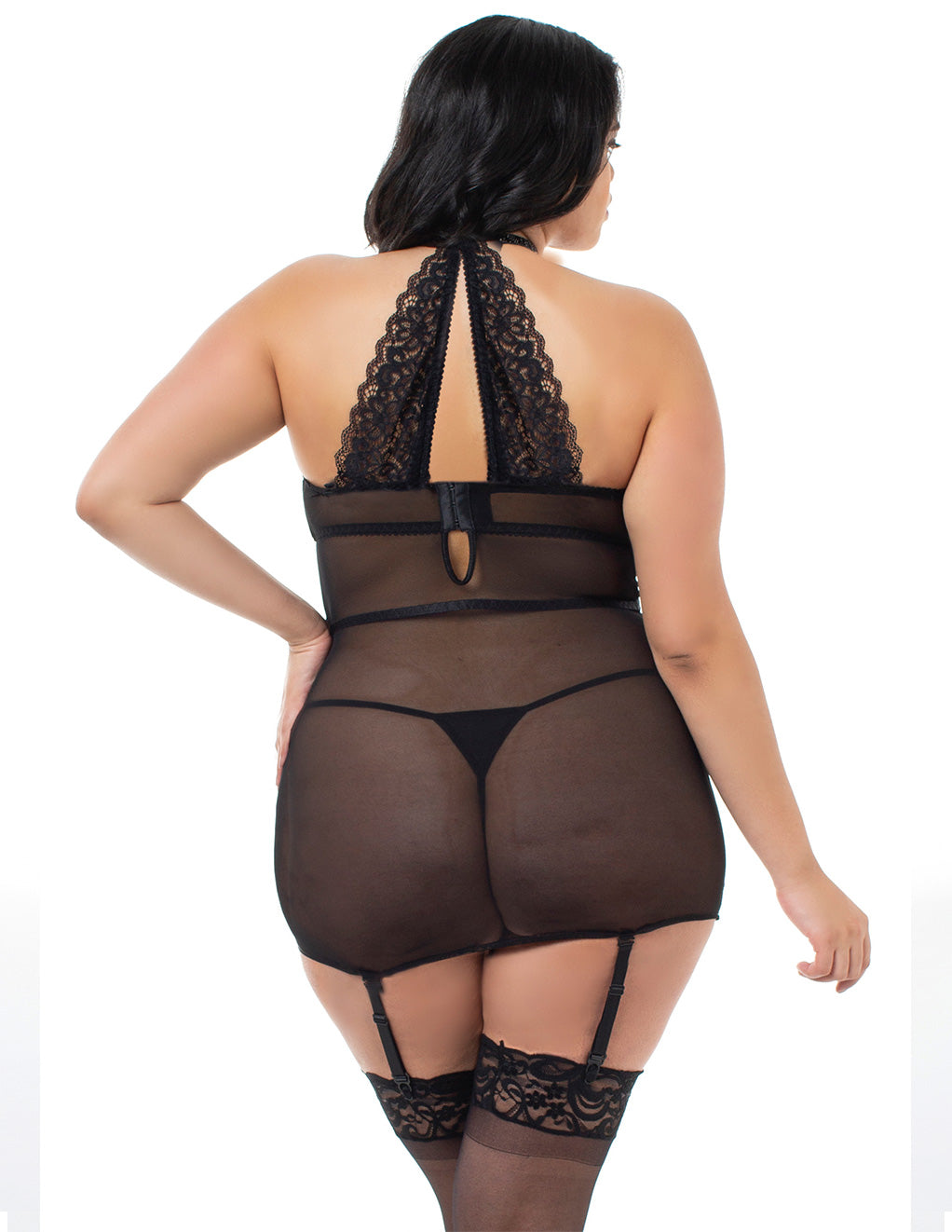 Dreamgirl Velvet And Lace Collared Chemigarter Back Plus Size Close Up