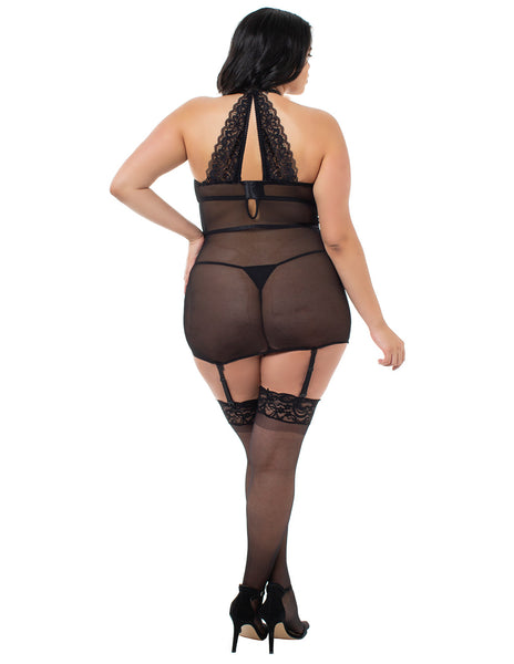 Dreamgirl Velvet And Lace Collared Chemigarter Back Plus Size