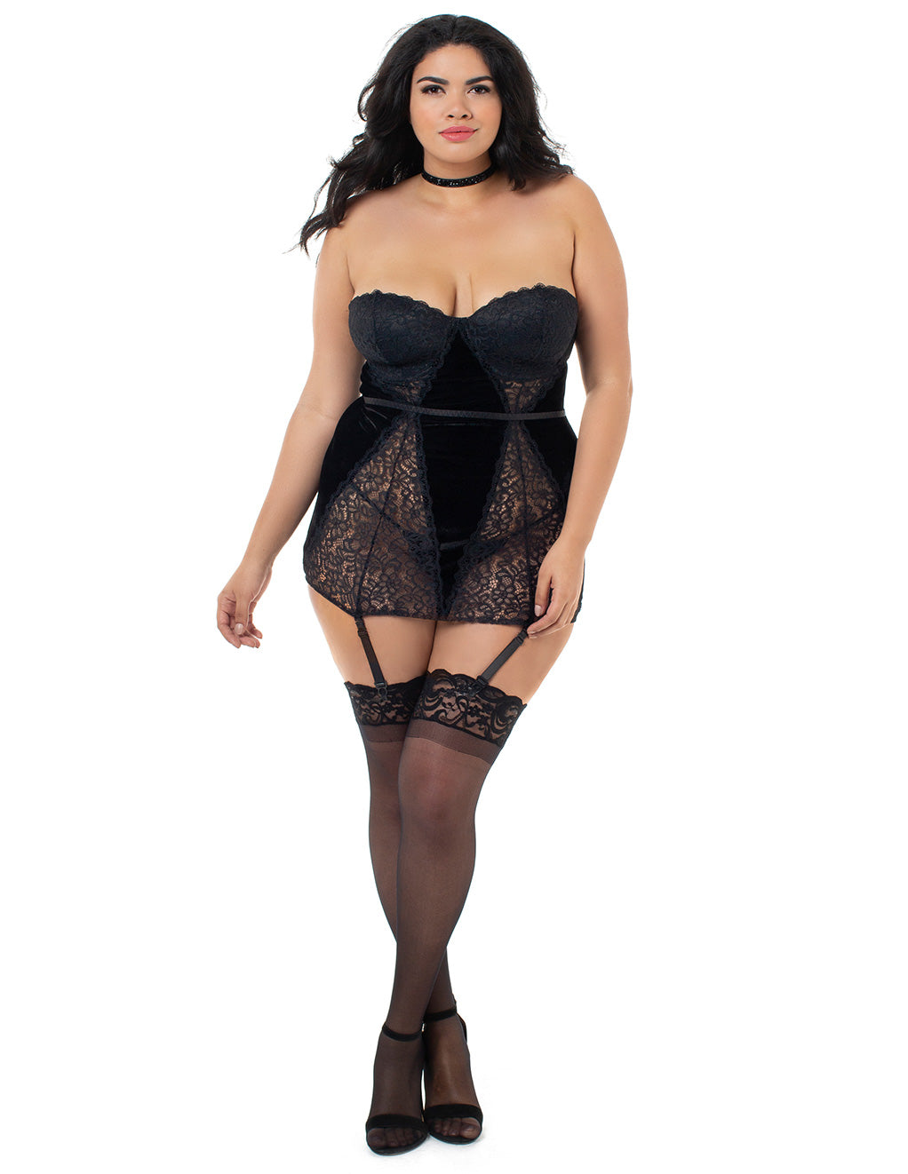 Dreamgirl Velvet And Lace Collared Chemigarter  Front Plus Size