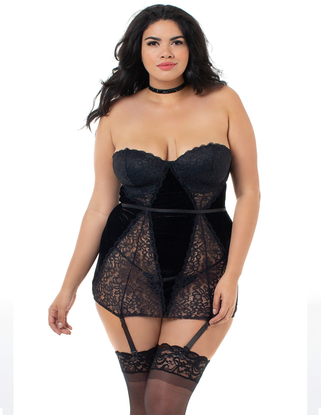 Dreamgirl Velvet And Lace Collared Chemigarter  Front Plus Size Close Up