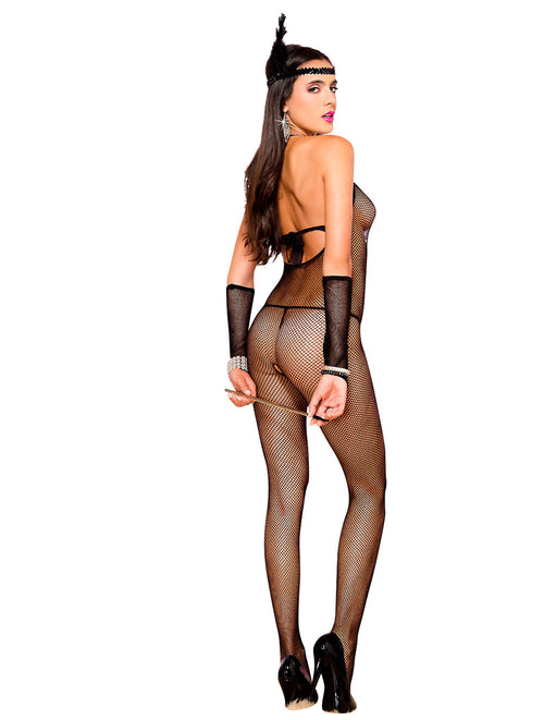 Hustler Lingerie Halter Tie Back Fishnet Bodystocking - Lingerie - Bodystockings - Featured Image