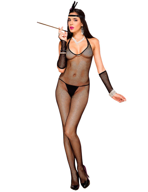 Hustler Lingerie Halter Tie Back Fishnet Bodystocking - Featured Image