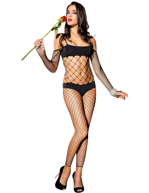 Hustler Lingerie Faux Bikini Long Sleeve Fishnet Footless Bodystocking - Lingerie - Bodystockings - Featured Image
