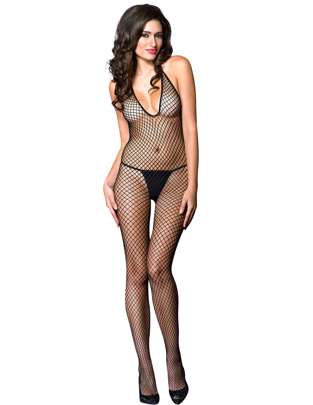 Hustler Lingerie Halter Mini Diamond Crotchless Bodystocking - Lingerie - Bodystockings