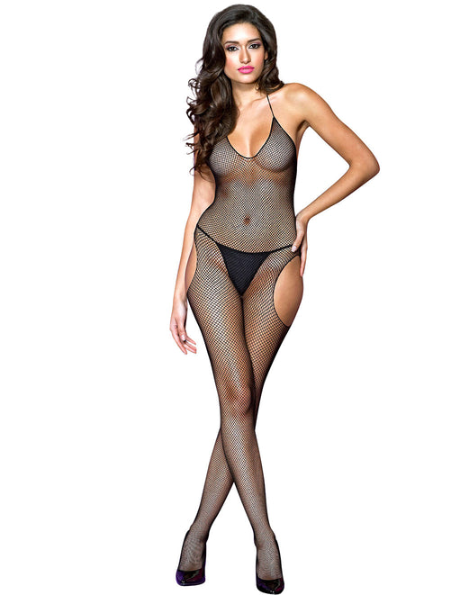 Hustler Lingerie Side Cutout Halter Neck Fishnet Bodystocking - Lingerie - Bodystockings