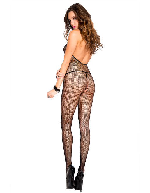 Hustler Lingerie Halter Open Back Crotchless Bodystocking - Lingerie - Bodystockings