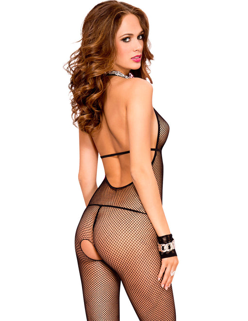 Hustler Lingerie Deep V Lace Trim Halter Fishnet Bodystocking - Lingerie - Bodystockings - Featured Image