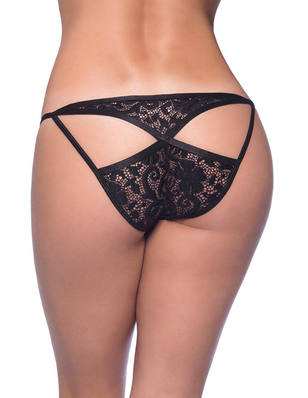 Oh La La Cheri Split Front Lace Bikini With Elastic Trimmed Keyholes Black Back