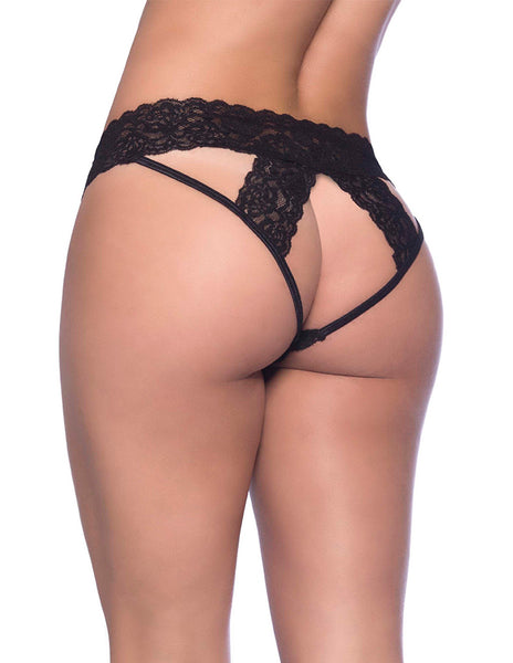 Oh La La Cheri Lace Strip Open Back Bikini Black Back