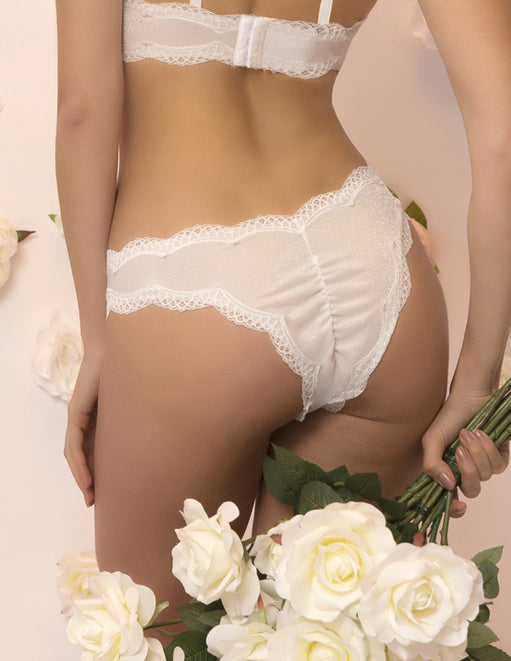 Oh la la Cheri Lace Trimmed Applique Tanga Panty back