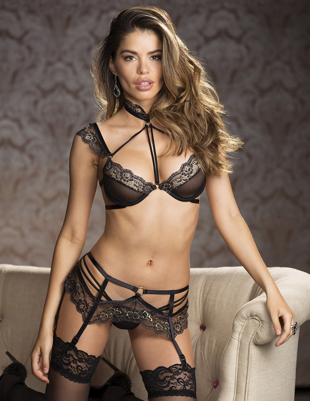 Shirley of Hollywood Two Tone Lace Garter Belt Styled Front