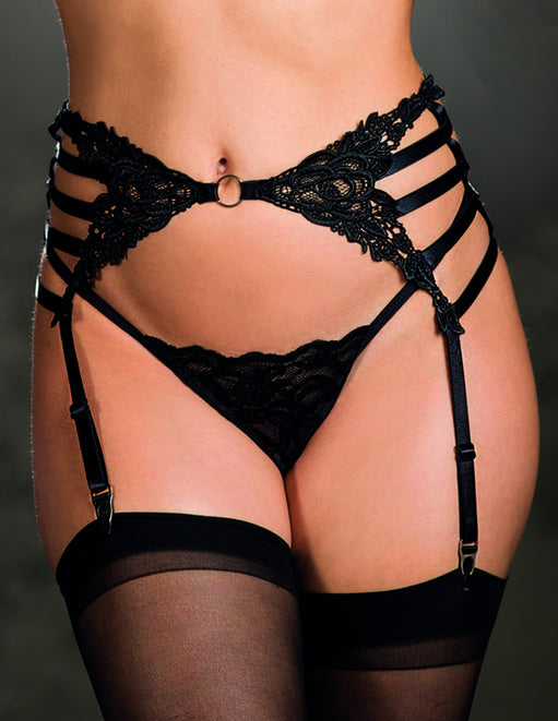 Venice Strappy Elastic Garter Belt- Front close up - Featured Image