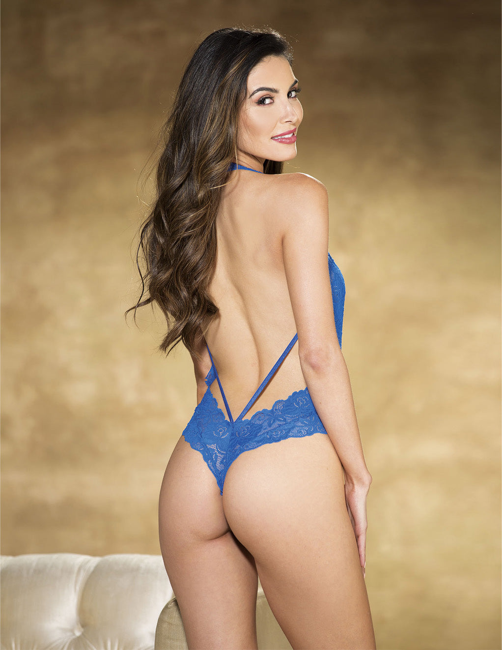 Textronic Stretch Lace Teddy- Blue- Back