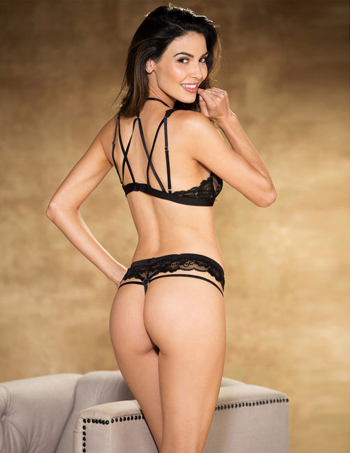 Floral Stretch Lace Bra and Panty Set- Black- Back - Featured Image