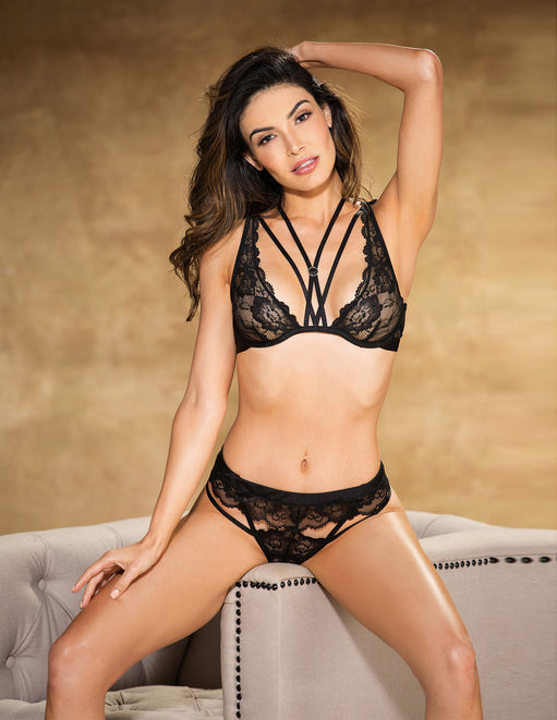 Floral Stretch Lace Bra and Panty Set- Black- Front - Featured Image
