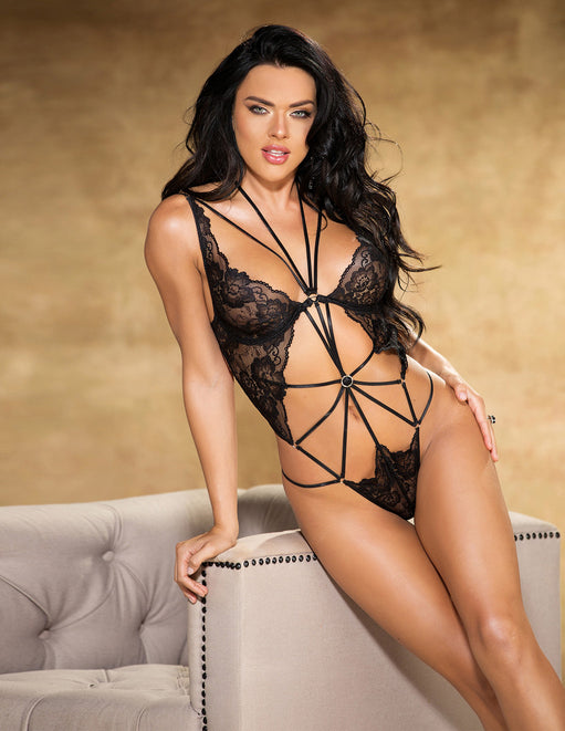 Floral Lace Strappy O-Ring Teddy- Black- Front - Featured Image