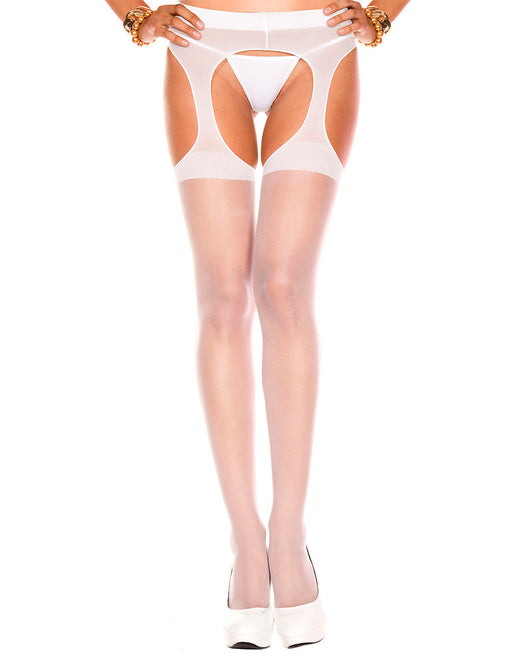 Hustler Lingerie Sheer Spandex Pantyhouse White - Featured Image