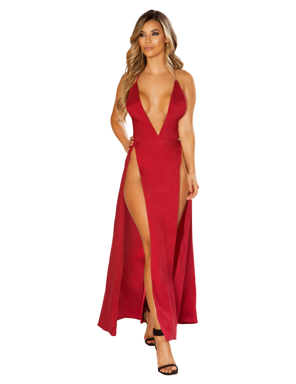 Roma Costume Maxi Length Satin Dress with High Slits And Deep V