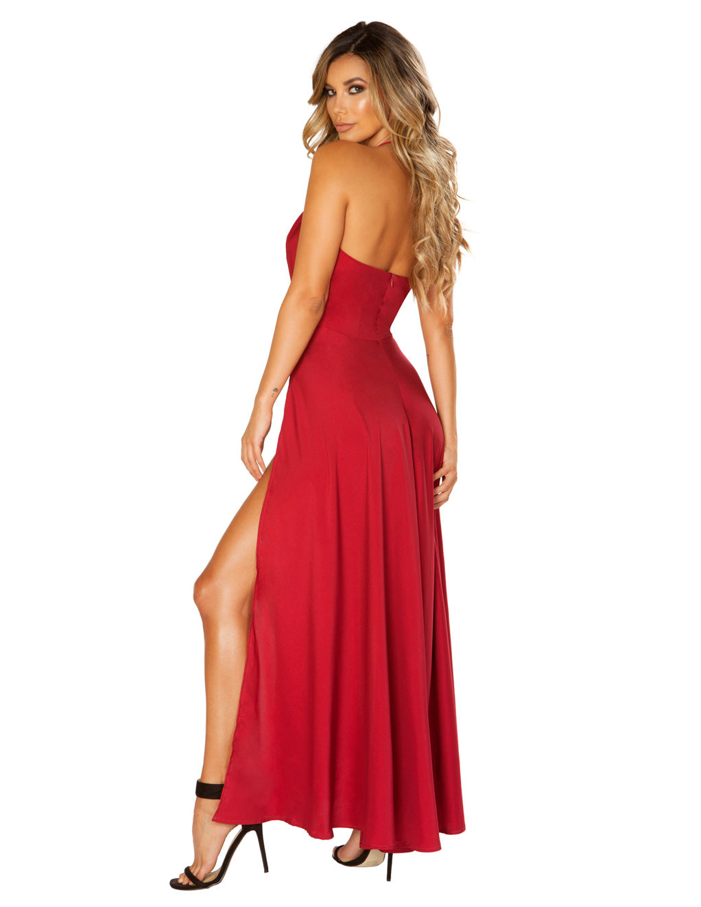 Roma Costume Maxi Length Satin Dress with High Slits And Deep V back