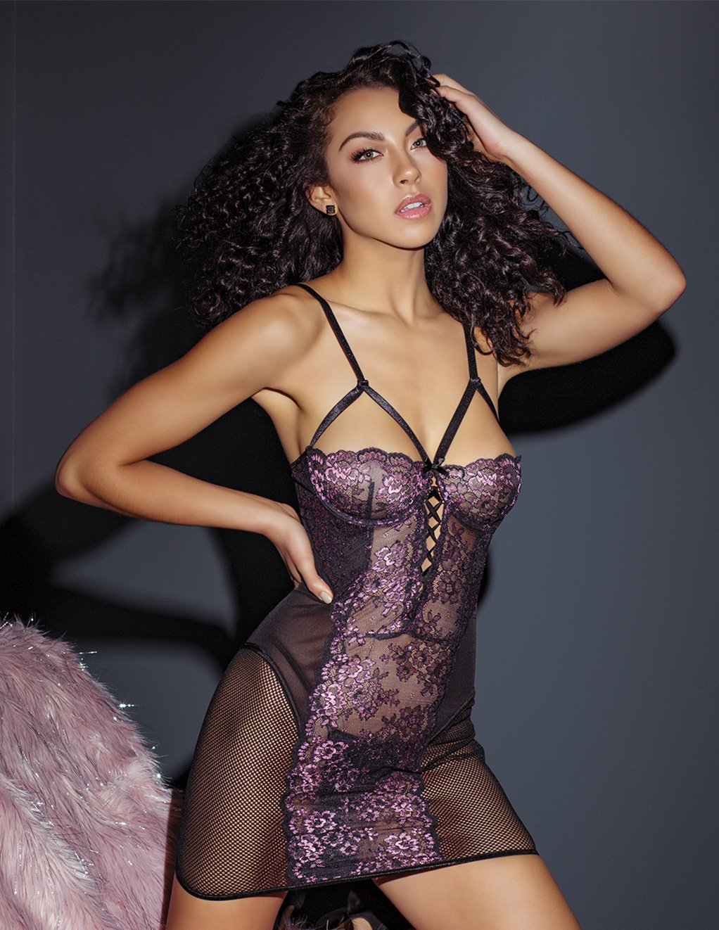 Coquette Lace And Mesh Panel Chemise Styled Front