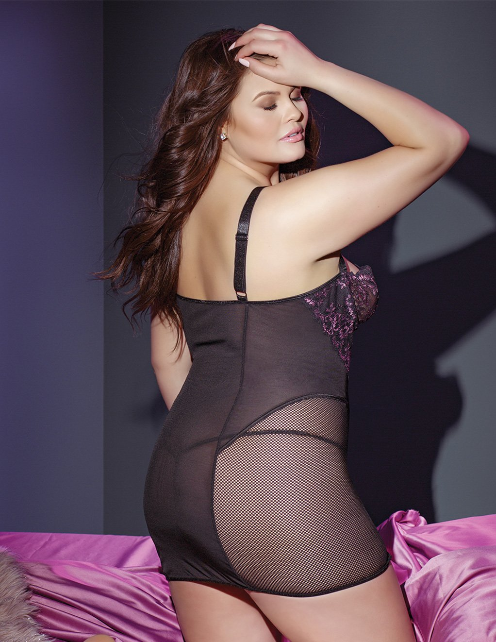 Coquette Lace And Mesh Panel Chemise Plus Size Styled Back