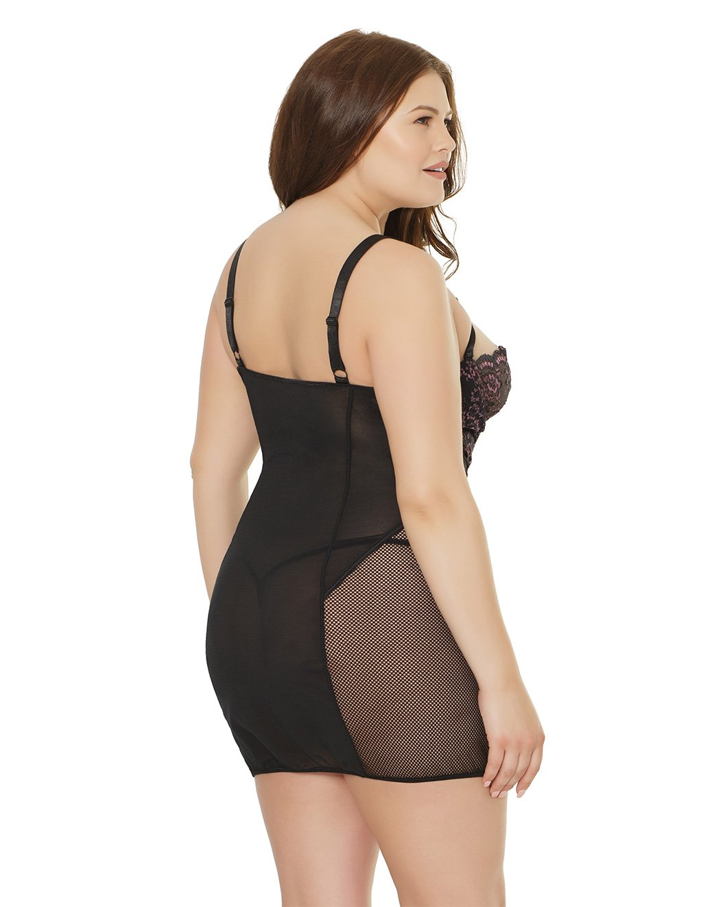 Coquette Lace And Mesh Panel Chemise Plus Size Studio Back