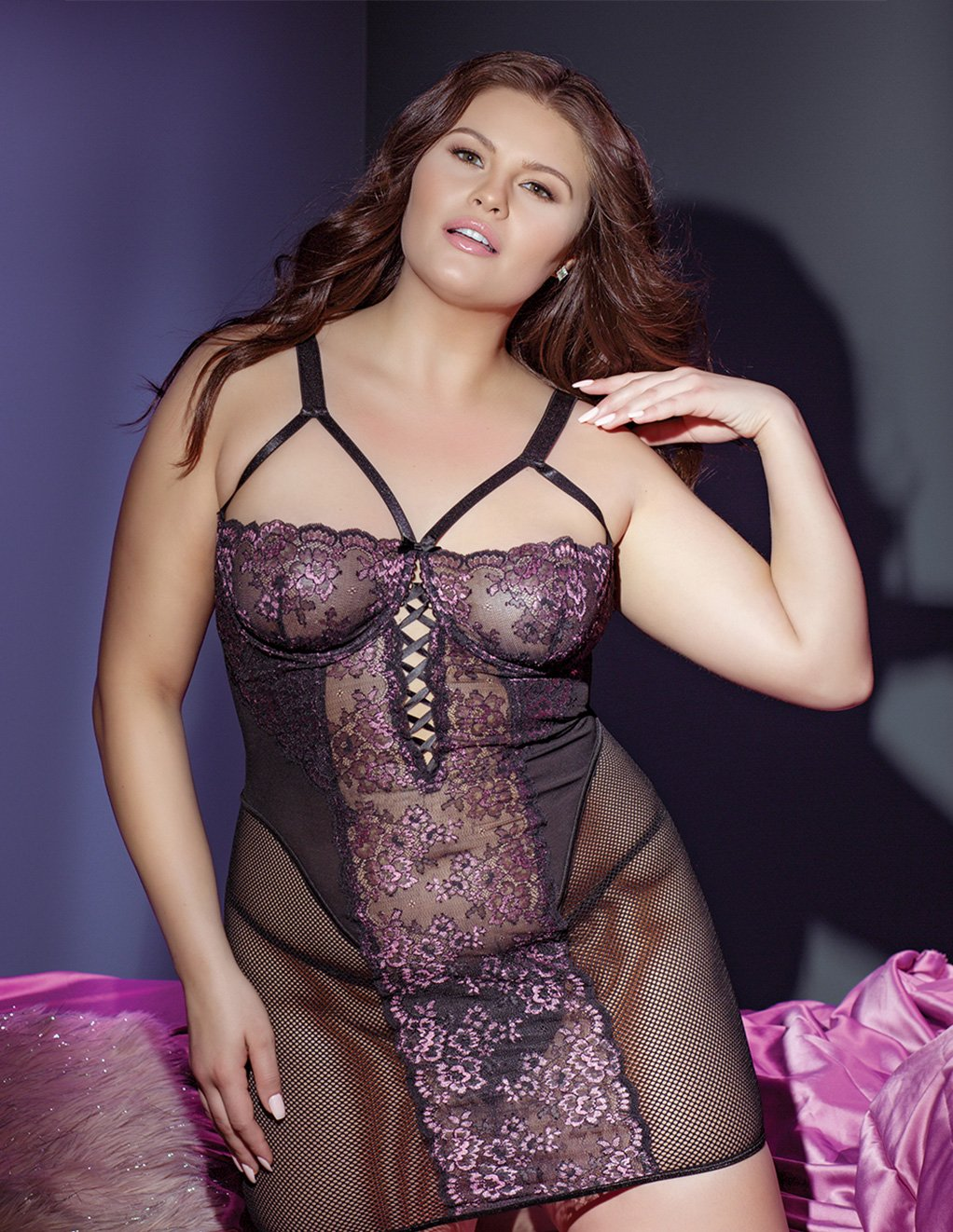 Coquette Lace And Mesh Panel Chemise Plus Size Styled Front