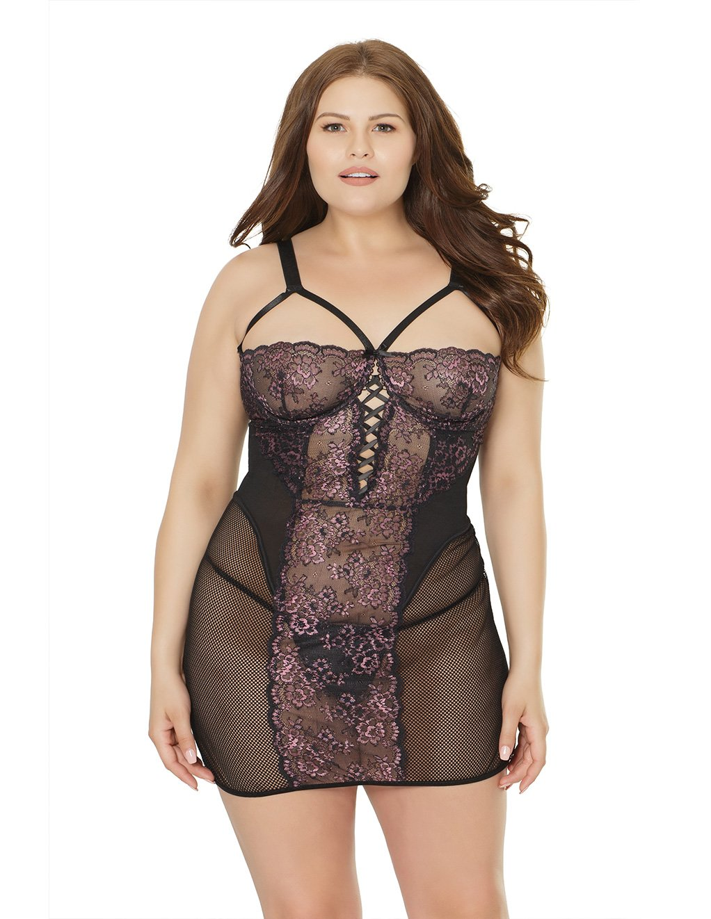 Coquette Lace And Mesh Panel Chemise Plus Size Studio Front