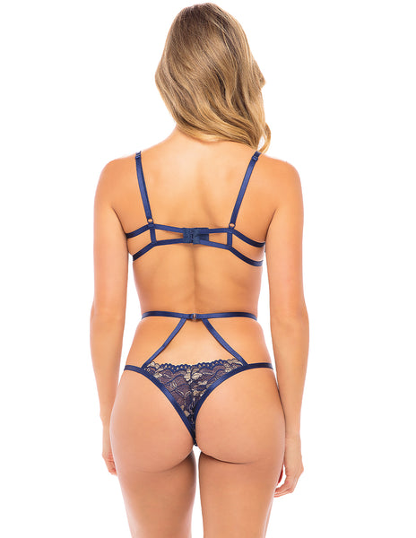 Oh La La Cherie Desarae Floral Lace Strap Bra and Panty Set- Estate Blue/New Wheat- Back