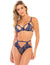 Oh La La Cherie Desarae Floral Lace Strap Bra and Panty Set- Estate Blue/New Wheat- Front