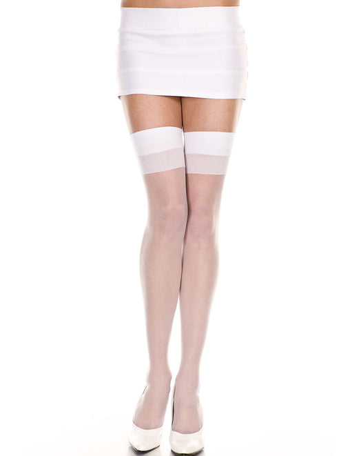 Music Legs White Two-Tone Sheer Thigh Highs