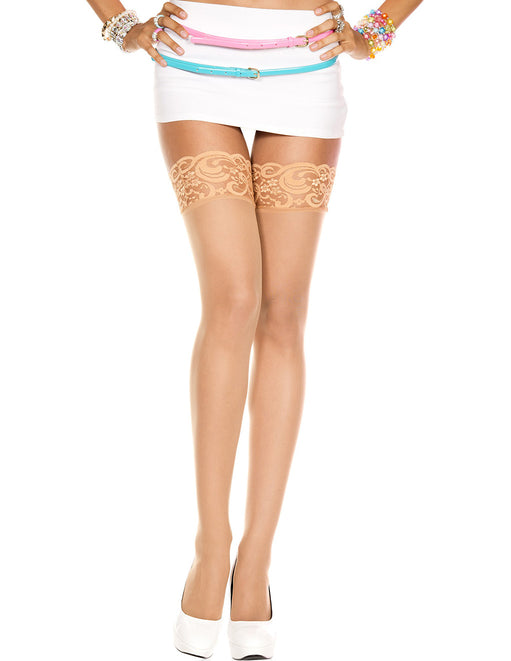 Music Legs Sheer Beige Lace Top Thigh Highs