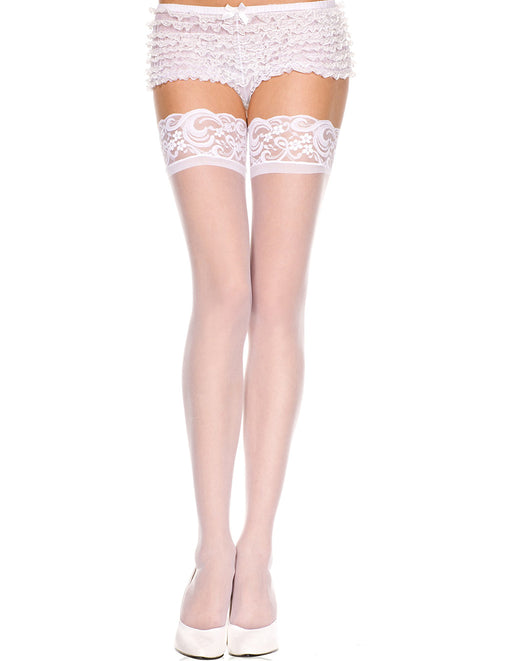Music Legs White Sheer Lace Top Thigh Highs