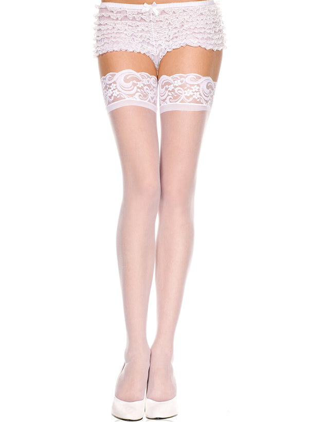 e0078331d Colors · Sheer Lace Top Thigh Highs by Music Legs