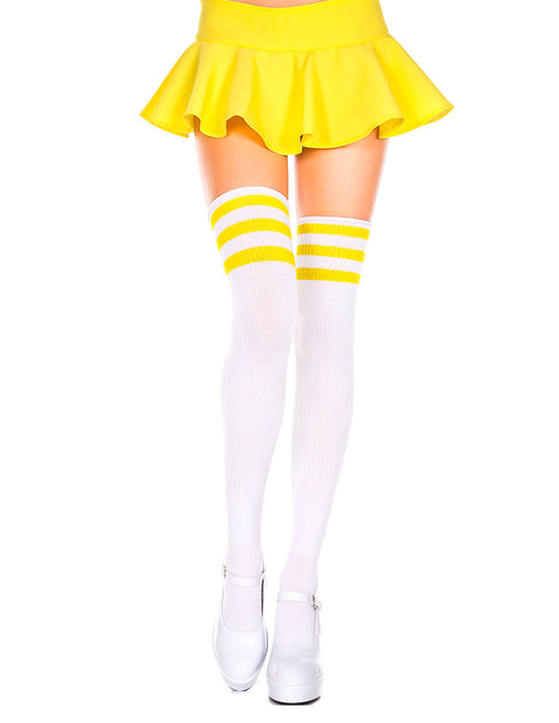Yellow Athletic Stripe Thigh High Socks by Music Legs