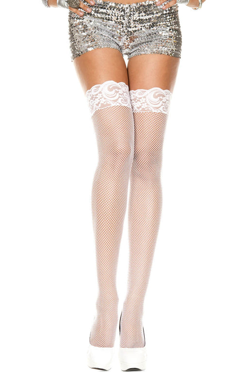 Music Legs White Fishnet Lace Top Thigh Highs - Bridal