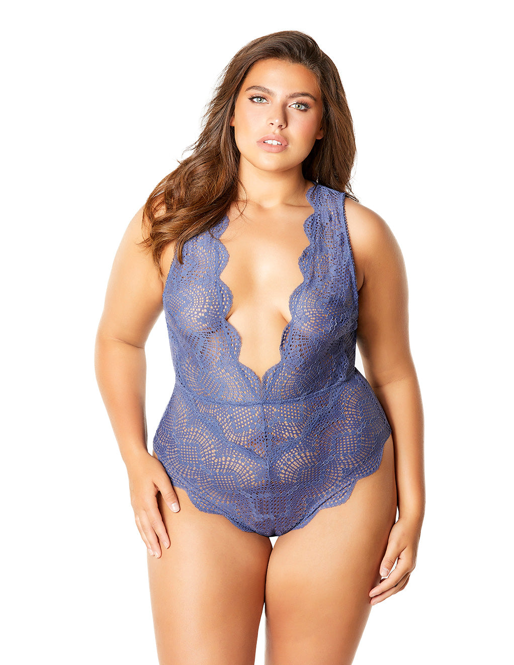 Oh La La Cheri Striped Lace Plunge Teddy Blue Front Plus Size
