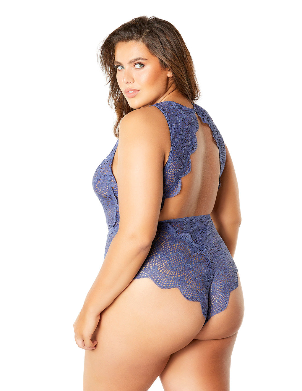 Oh La La Cheri Striped Lace Plunge Teddy Blue Back Plus Size