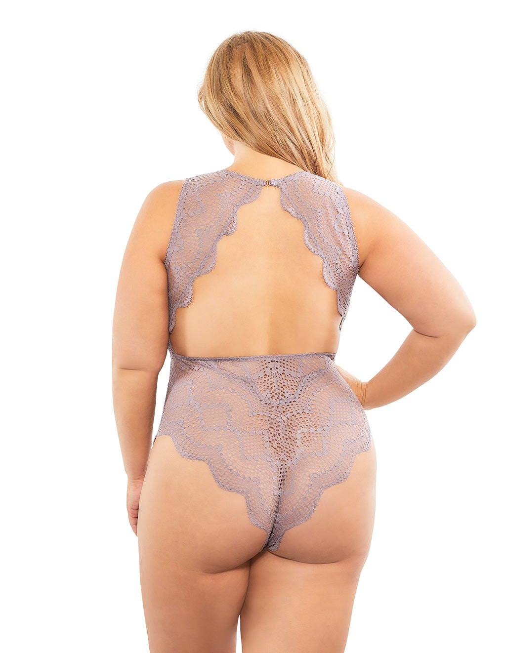Oh La La Cheri Striped Lace Plunge Teddy Purple Back Plus Size
