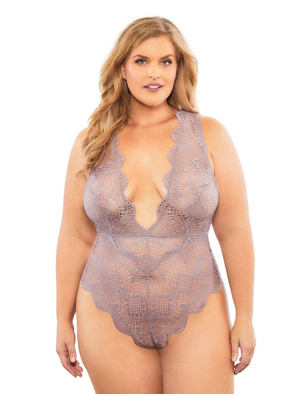Oh La La Cheri Striped Lace Plunge Teddy Purple Front Plus Size